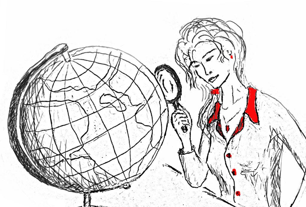 Глобус и девушка с лупой